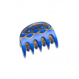 Very small size regular shape Hair jaw clip in Fluo electric blue and gold