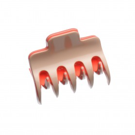 Small size regular shape Hair jaw clip in Hazel and coral