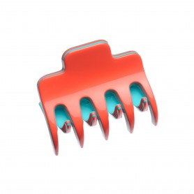 Small size regular shape Hair jaw clip in Coral and turquoise