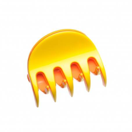 Small size regular shape Hair jaw clip in Yellow and coral