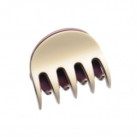 Small size regular shape Hair jaw clip in Ivory and violet