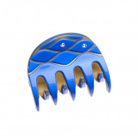 Small size regular shape Hair jaw clip in Fluo electric blue and gold