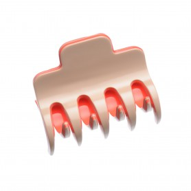 Medium size regular shape Hair jaw clip in Hazel and coral