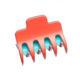 Medium size regular shape Hair jaw clip in Coral and turquoise