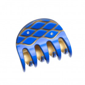 Medium size regular shape Hair jaw clip in Fluo electric blue and gold