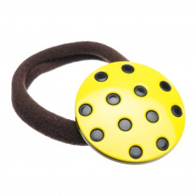 Medium size round shape Hair elastic with decoration in Yellow and black
