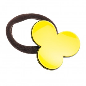 Medium size flower shape Hair elastic with decoration in Yellow and black