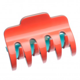 Large size regular shape Hair jaw clip in Coral and turquoise