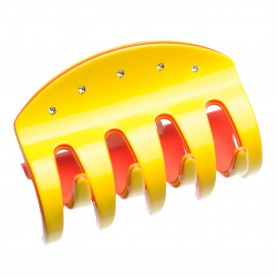 Large size regular shape Hair jaw clip in Yellow and coral